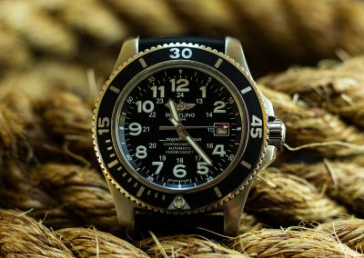 close up shot of breitling watch product photography advertising