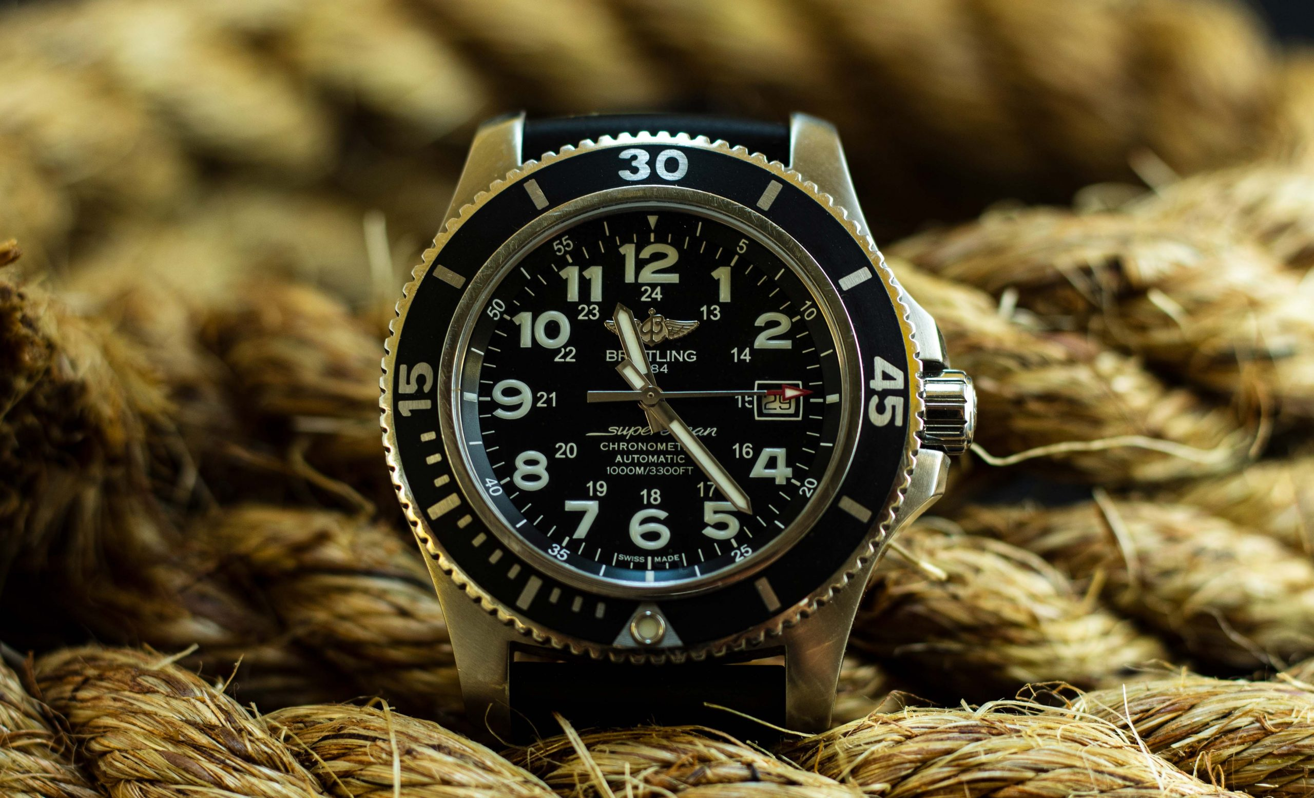 breitling watch between ropes