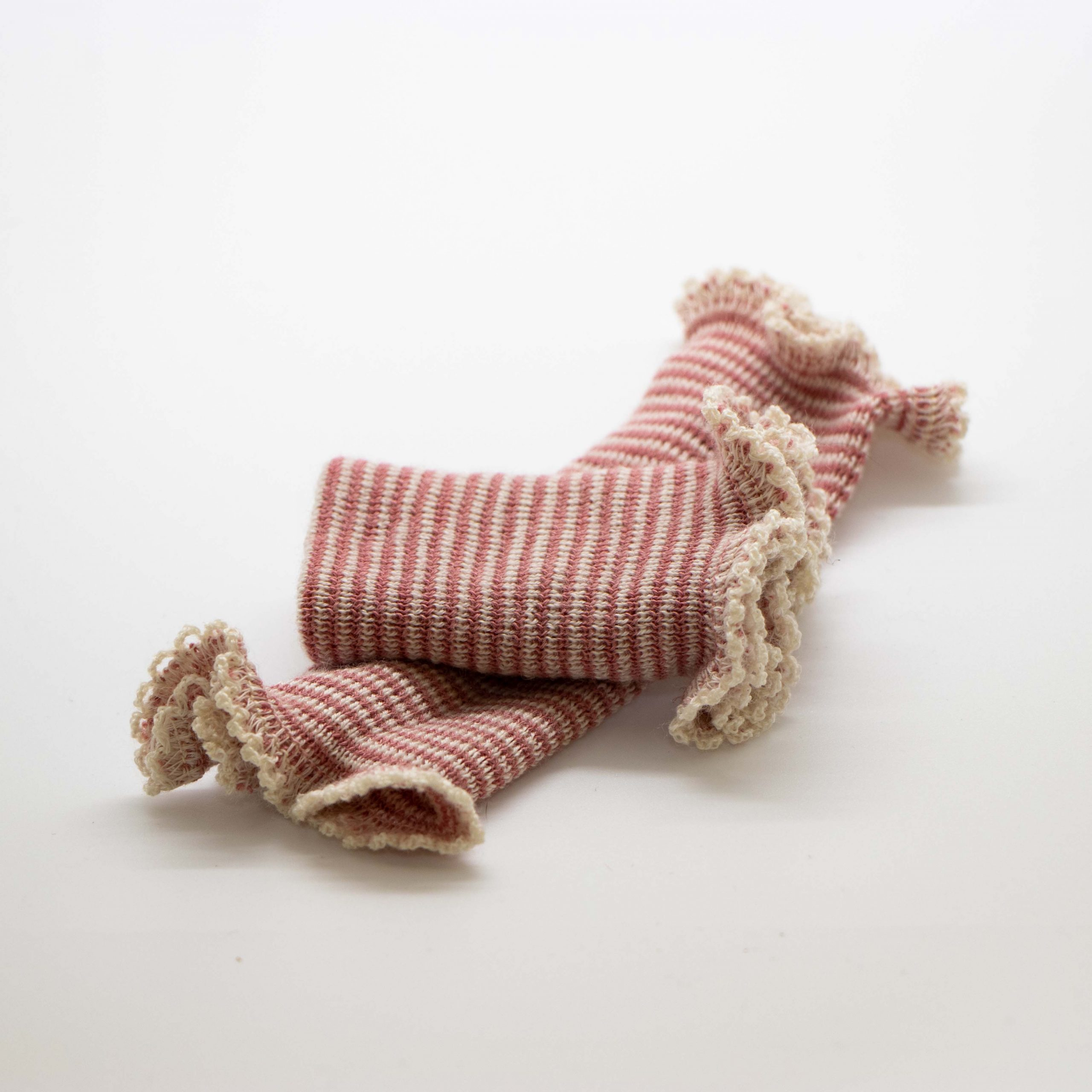 red and white striped wool wristlet warmer