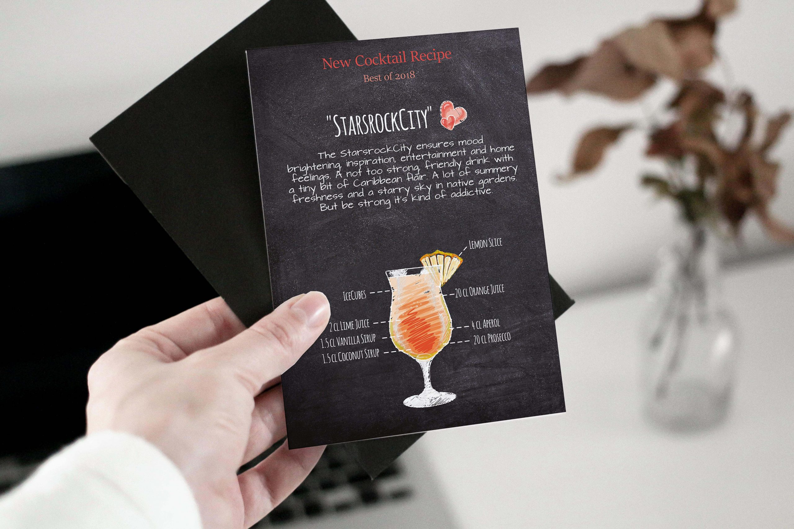 woman hand holding cocktail card