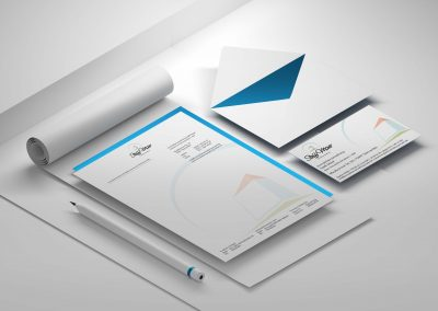 stationery with letterhead envelope and business card on white background