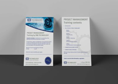 two sided flyer standing on wall white background