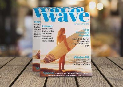 surfer magazine on wooden boards with blurry background